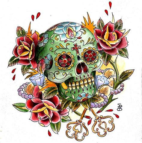 tatuaggi teschi e fiori disegni archives sandi custom