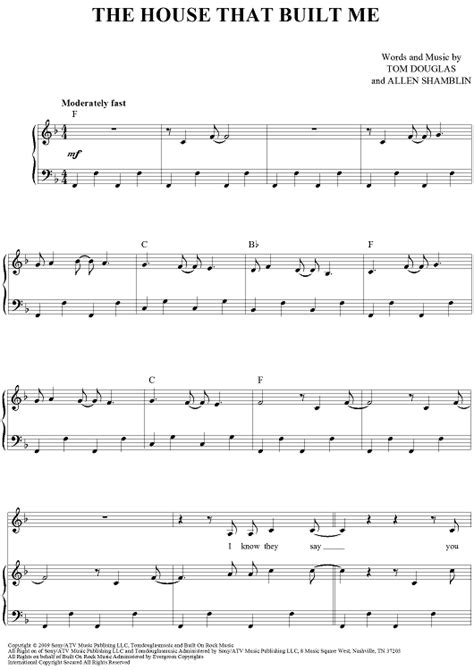 house that built me chords the house that built me sheet music for piano and more onlinesheetmusic com
