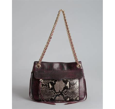 rebecca minkoff swing bag black rebecca minkoff black and deep purple snake embossed