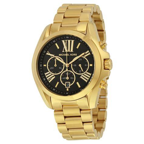 michael kors mid size bradshaw chronograph black gold