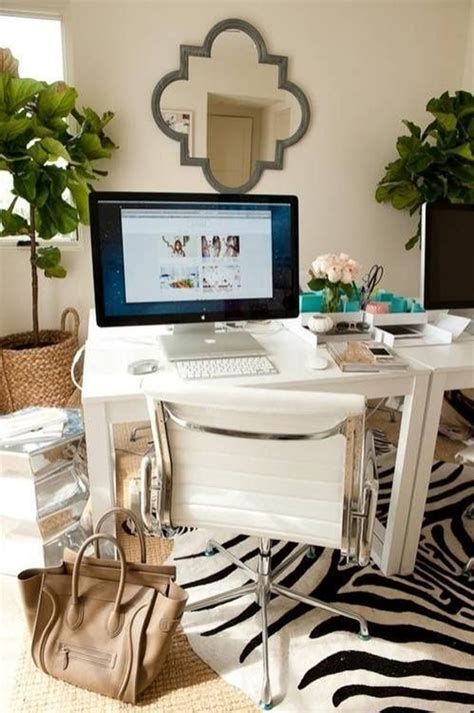 chic home office desk girly women workspace