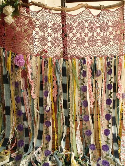 hippie curtains drapes 80wide x84long boho garland curtain gypsy hippie