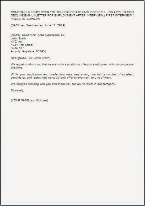 Decline Letter Application Application Rejection Letter After