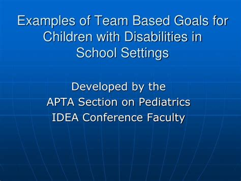 apta pediatric section ppt exles of team based goals for children with