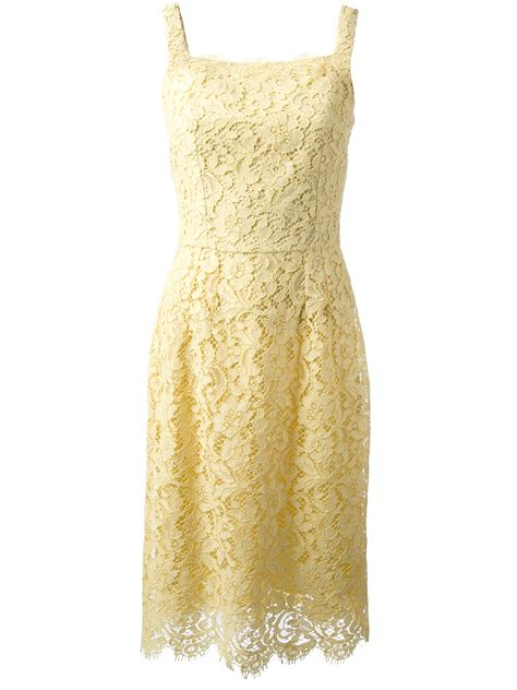 Yellow Lace Flower Dress Size Mlxl 12648 yellow cotton blend sleeveless floral lace dress from dolce gabbana featuring a square neck a