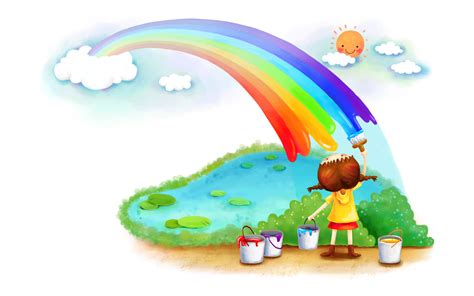 children s painting free for pc free painting a rainbow computer desktop wallpaper