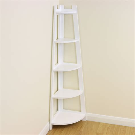 white 5 tier corner shelf shelving unit display stand home bathroom lounge ebay