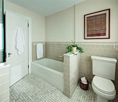 bathroom with half wall height of half wall