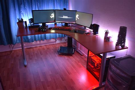 Led Office Desk L Tidy Battlestations With Ikea Bekant Desk With Monitors Setup And Led Light