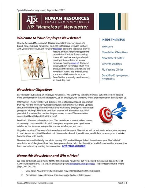 hr newsletter template 9 sle employee newsletter templates free pdf format