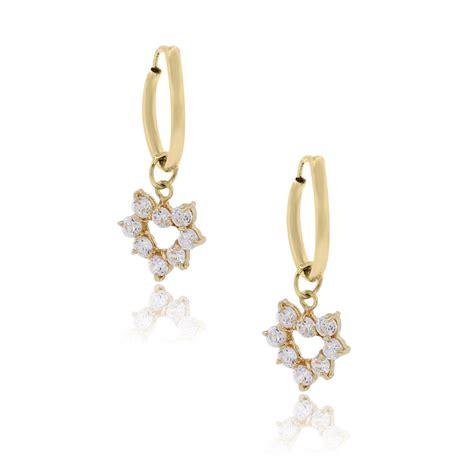 Dangle Earring 14k yellow gold cubic zirconia dangle earrings