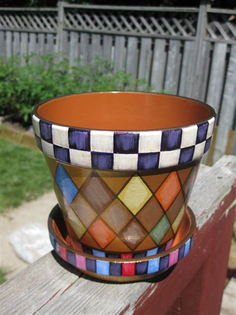 pattern of flower pot whimsical terracotta planter country checkered design