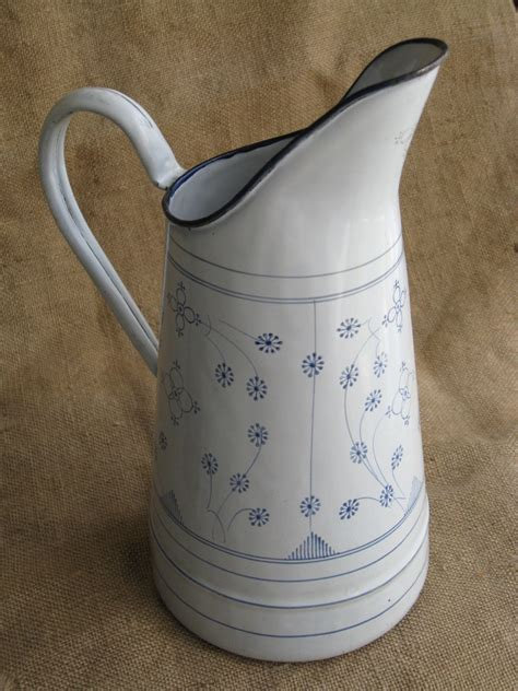 vintage blue white french enamelware pitcher omero home