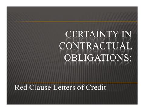 Letter Of Credit Contract Clause Clause Letters Of Credit