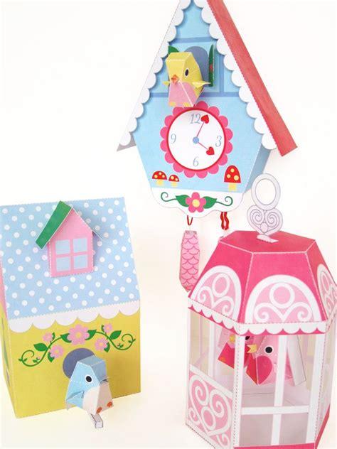 printable toy clock cuckoo clock bird house and bird cage printable paper