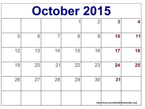 8 best images of printable schedule for october month 2015