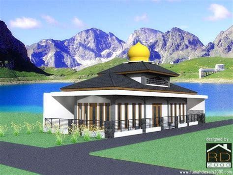 desain bangunan mushola taman minimalis dengan kolam di bandung rumah desain 2000