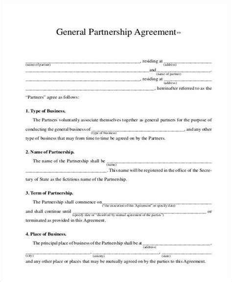 llp agreement template general partnership agreement template sle partnership