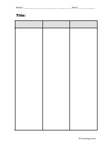 3 Column Notes Template by Blank 3 Column Notes Form Freeology