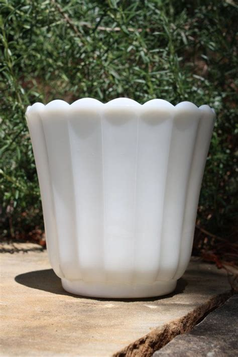 fluted milk glass planter white vase