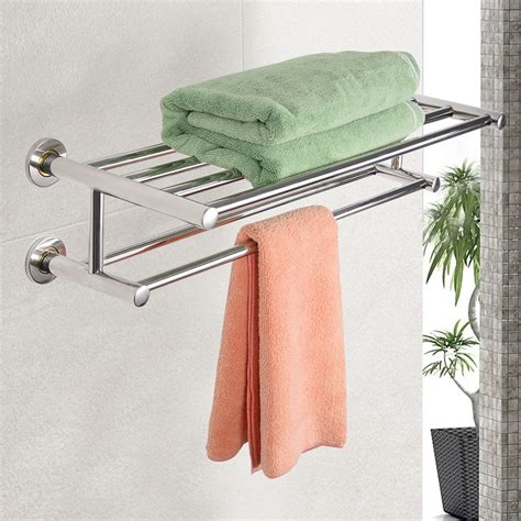 Bathroom Towel Storage Wall Mounted Wall Mounted Towel Rack Bathroom Hotel Rail Holder Storage Shelf Stainless Steel Ebay