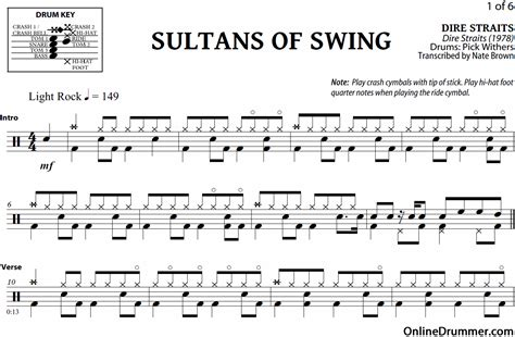 sultain of swing sultans of swing dire straits drum sheet
