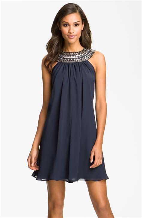 chiffon clothing js boutique embellished chiffon trapeze dress in blue