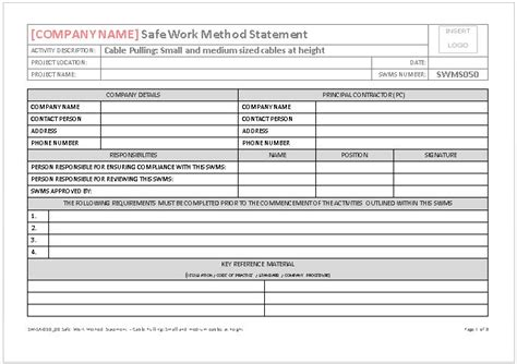 safe work method statement template doc 1747852 risk assessment for general electrical work