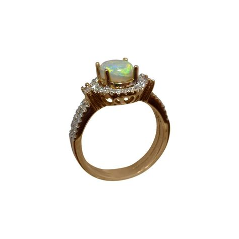 lime green opal ring with diamonds 14k gold