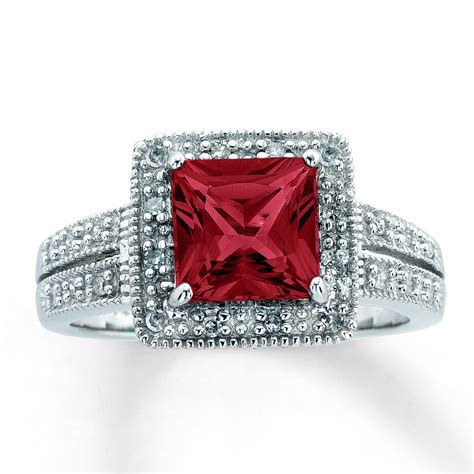 jared lab created ruby ring square cut with diamonds 10k