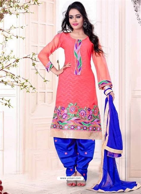 punjabi suits pink and blue cotton punjabi suits punjabi suit online