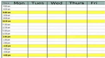 monday thru friday planner calendar template 2016
