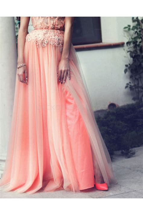 Beaded Lace A Line Dress a line beaded lace appliques prom evening