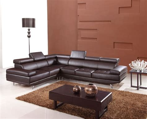 modern brown leather couch 9054 modern brown leather sectional sofa