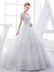 cap sleeves lace appliques ball gown wedding dress