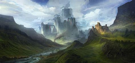 wallpaper fantasy art artwork mist valley plateau