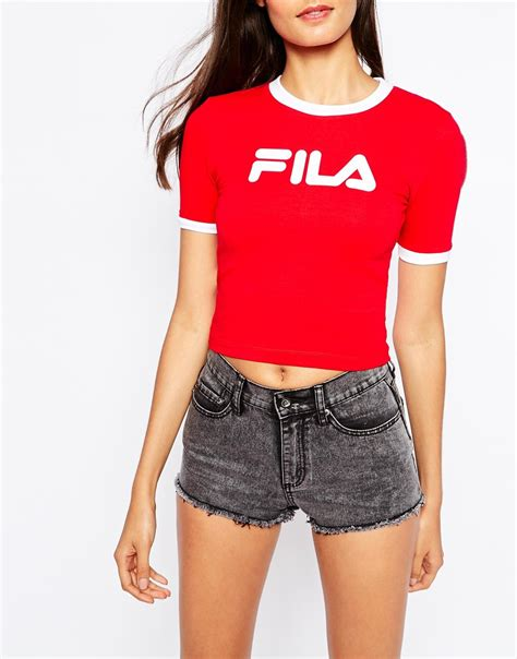 Filla Blouse lyst fila cropped 90s t shirt with contrast collar and front logo in