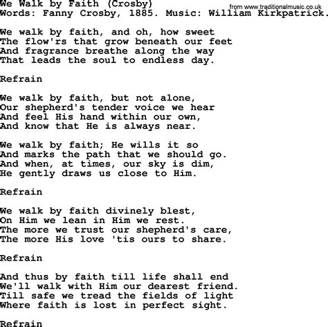 we walk by faith by crosby hymn lyrics