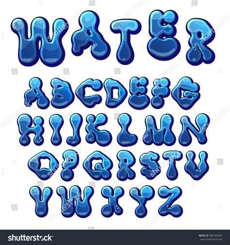 font design water cartoon water drops font funny blue stock vector 386704024
