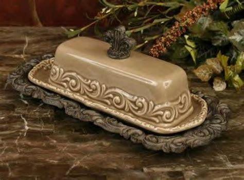 drake design home decor butter dish fleur de lis finial drake design taupe