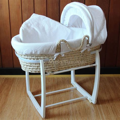 Baby Basket Crib Baby Moses Bassinet White Wooden Side To Side Rocking Stand White Waffle Bedding Ebay