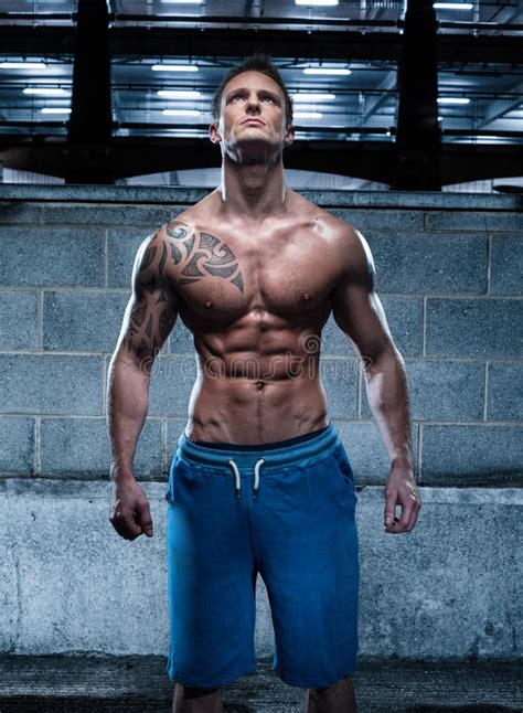 6 pack tattoo handsome athletic with looking up stock