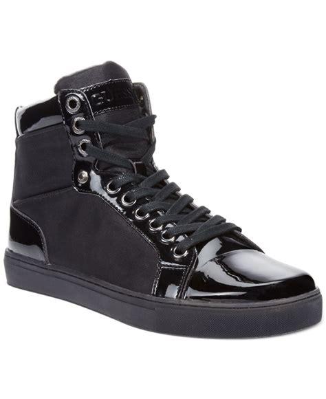 black hi top sneakers mens guess s tommie hi top sneakers in black for save