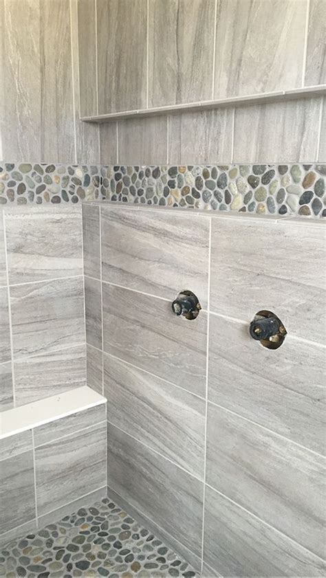 grey pebble tiles bathroom field tile daltile linden point in grigio accent level