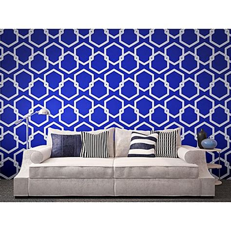 removable wallpaper clean tempaper 174 removable wallpaper in honeycomb metallic blue