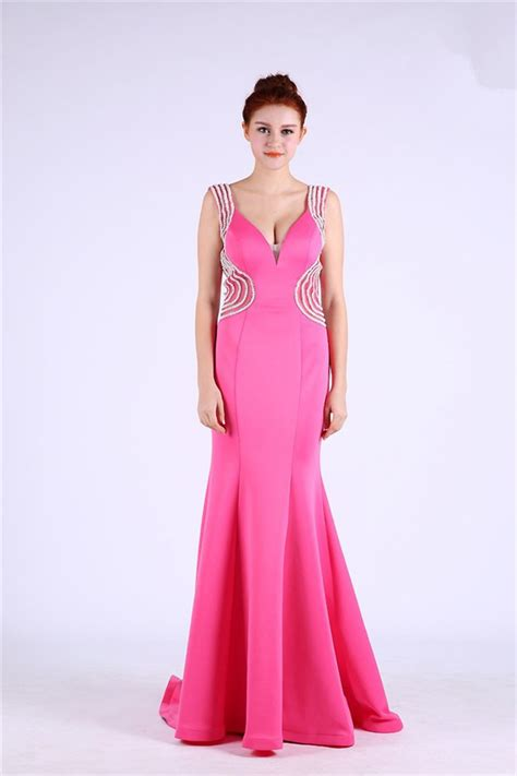 Dress Pearl Hotpink Sheath V Neck Open Back Pink Satin Pearl Beaded
