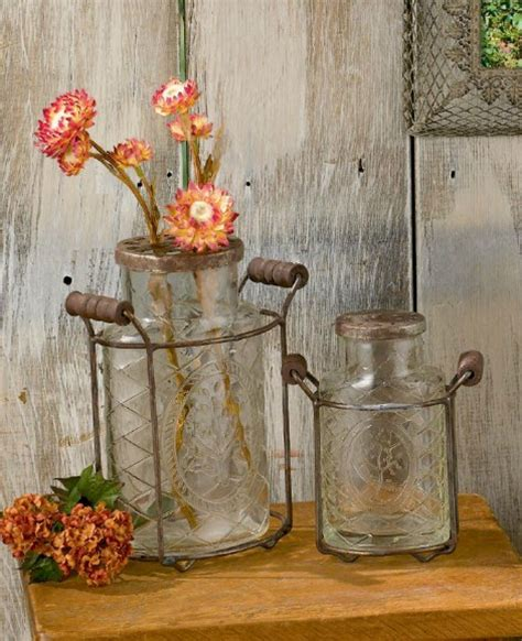 Vases For Kitchen Decor New 2 Pc Country Embossed Glass Vases Metal Frames Rustic