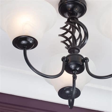 Ceiling Lights Black Spiral Flush Ceiling Light Frosted Glass Shades 3 Light Satin Black