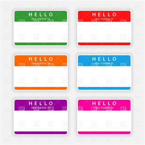 printable name tag color color name tags with shadow royalty free vector clip art