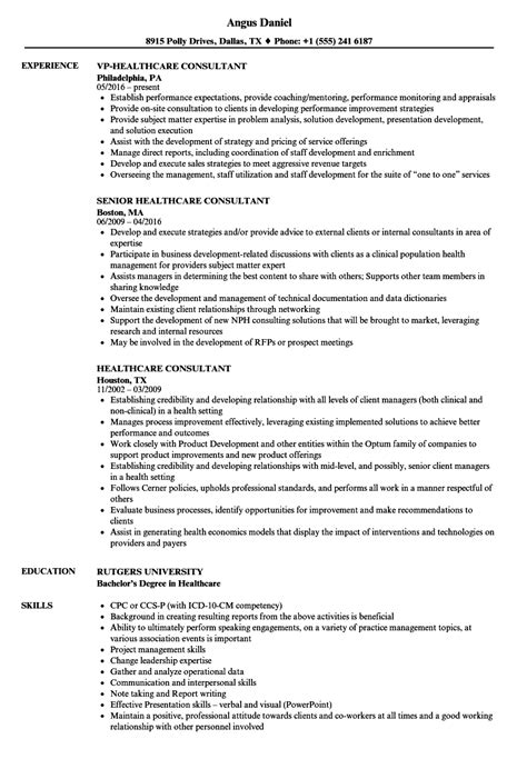 healthcare consultant resume sles velvet